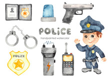 Watercolor Set With Police And...