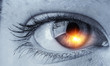 Eye close up, black and white photo . Mixed media