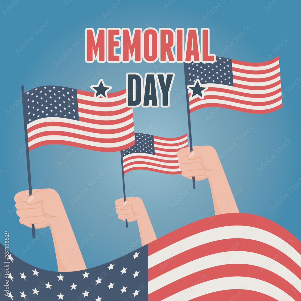 Fototapeta happy memorial day, raised hands with flags american celebration