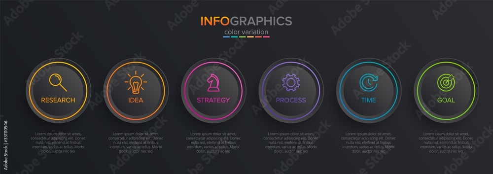 Fototapeta Concept of arrow business model with 6 successive isometric steps. Six colorful graphic elements. Timeline design for brochure, presentation. Infographic design layout