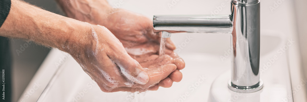 Fototapeta Corona virus travel prevention wash hands with soap and hot water. Hand hygiene for coronavirus outbreak. Protection by washing hands frequently concept panoramic banner header.