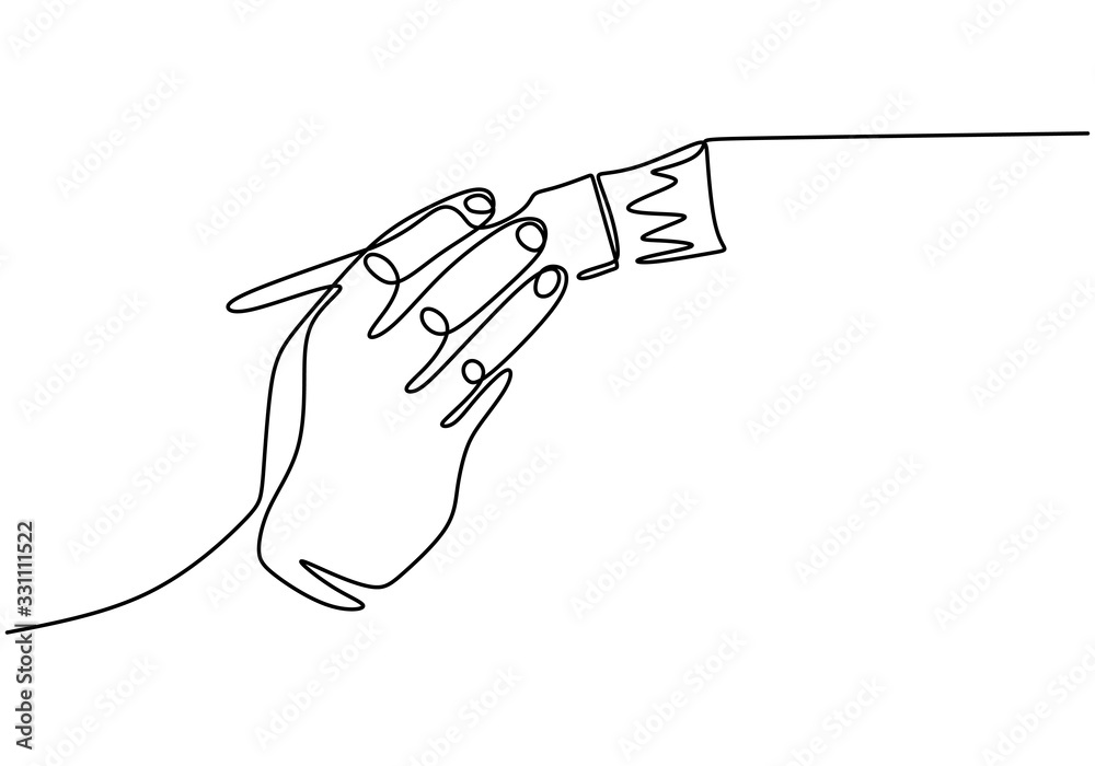 Fototapeta Paint brush one line drawing, vector illustration simplicity hand drawn. Tool for artist or painter.