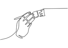 Paint Brush One Line Drawing, ...
