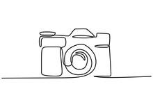 Digital Camera One Line Drawing. Vector Illustration Gadget Technology Concept.