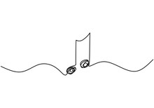 Whole Note Vector Illustration, Single One Continuous Line Art Drawing Style. Minimalism Sign And Symbol Of Music.