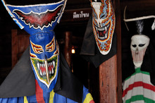 Masks Ghost Phi Ta Khon Festival On June In Loei, Thailand