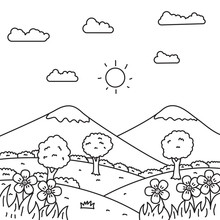 Landscape Vector Illustration In Line Art Style Suitable For Kids Coloring Page