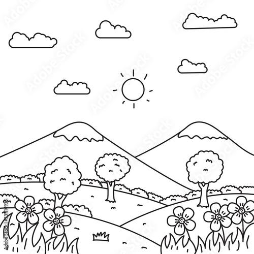 Fototapeta Landscape vector illustration in line art style suitable for kids coloring page