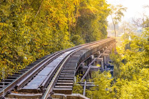 Valokuvatapetti Landscape of Bridge River Kwai at Kanchanaburi, Thailand in morning time