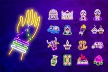 India Greeting Card Collection Neon Vector Design Template. Neon Sign, Modern Trend Design For Indian Festival. Dahi Handi Is Janmashtami Celebration. India Vector Symbol Stock Web Illustration.