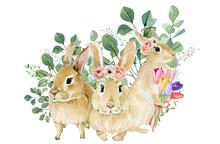 Watercolor Bunny Set In Floral...