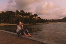Beautiful Girl At Sunset On Th...