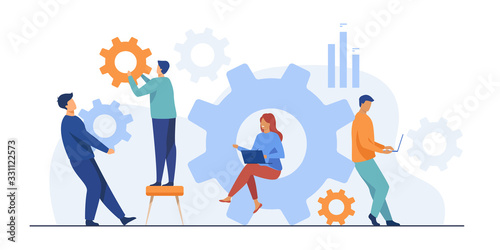 Fototapeta Business team working on cogwheel mechanism together. People carrying gears, using laptops . Vector illustration for teamwork, technology, solution, engineering concept obraz