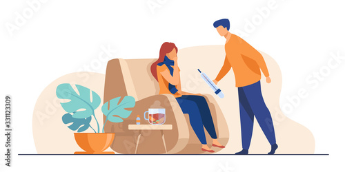 Fototapeta Woman in scarf catching cold and suffering from flu. Man taking care about sick girlfriend, giving thermometer to her. Vector illustration for infection, healthcare, illness concept obraz