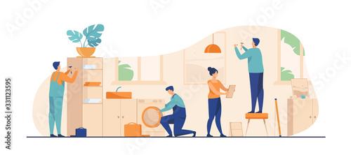 Obraz na plátně Handyman working at customer home