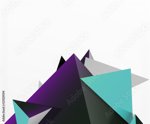 Abstract background, mosaic 3d triangles composition, low poly style design Wallpaper Mural