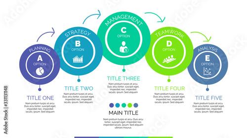 Five steps process chart slide template Canvas-taulu