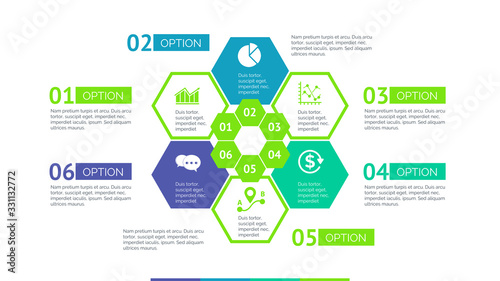 Photo Six hexagons flower process chart slide template