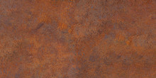 Panoramic Of Old Rusty Oxidized Eroded Metal. Old Metal Corrosion Sheet.