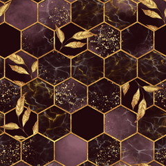 Panel Szklany Wzory geometryczne Marble hexagon seamless texture with golden leaves. Abstract background