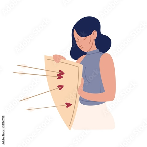 Obraz Upset cartoon woman with mental disorders hold shield with arrows isolated on white. Female rejection of love vector flat illustration. Psychological problem, defense mechanism and avoidance concept - fototapety do salonu