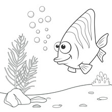 Coloring Page Outline Of Cartoon Coral Fish. Page For Coloring Book Of Funny Fish For Kids. Activity Colorless Picture Of Cute Animals. Anti-stress Page For Child. Black And White Vector Illustration.