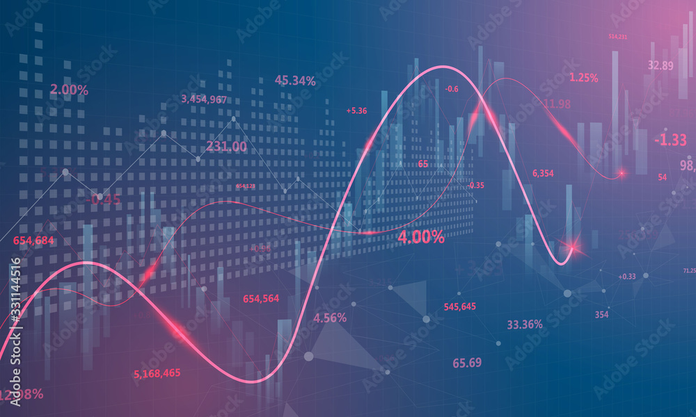 Fototapeta stock market, economic graph with diagrams, business and financial concepts and reports, abstract blue technology communication concept vector background
