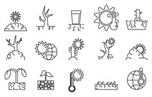Drought Environment Icons Set....