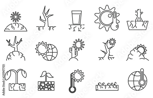 Cuadros en Lienzo Drought environment icons set