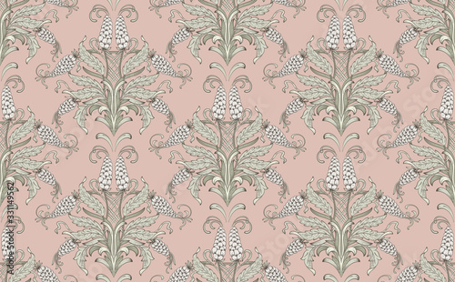 Damask seamless emboss pattern background Lerretsbilde