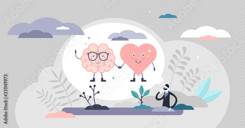 Fotografiet Heart mind connection scene vector illustration flat tiny persons concept