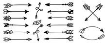 Hand Drawn Arrows. Hipster Eth...