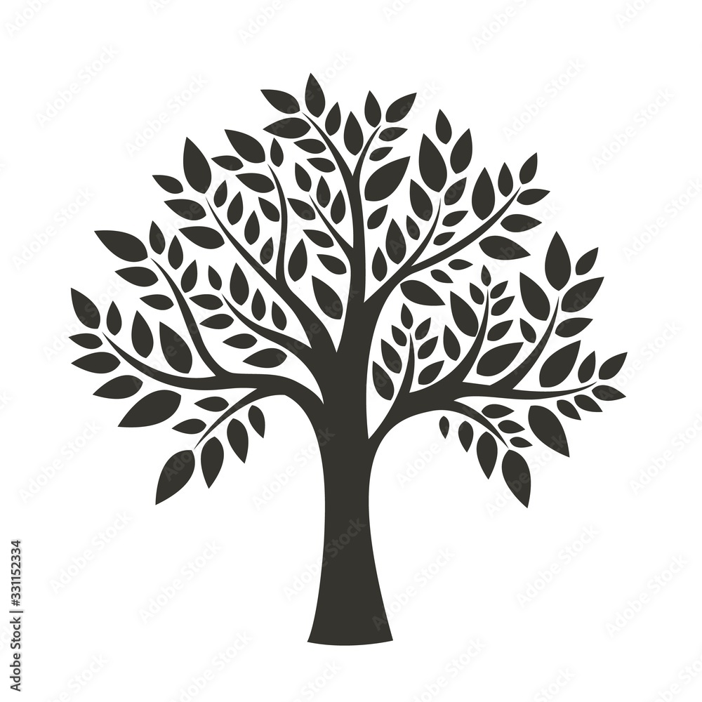 Fototapeta Black tree isolated on white background. Silhouetts