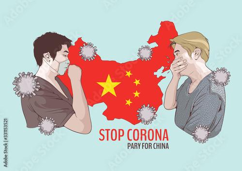 Fototapeta corona virus, vector illustration of A man coughing and map of china obraz