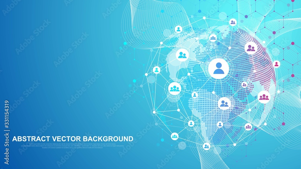 Fototapeta Global network connection concept. Big data visualization. Social network communication in the global computer networks. Internet technology. Business. Science. Vector illustration