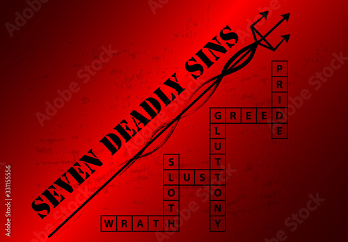 Seven Deadly Sins Blackground with crossword Wallpaper Mural