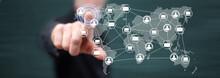 Man Touching A Global Network ...