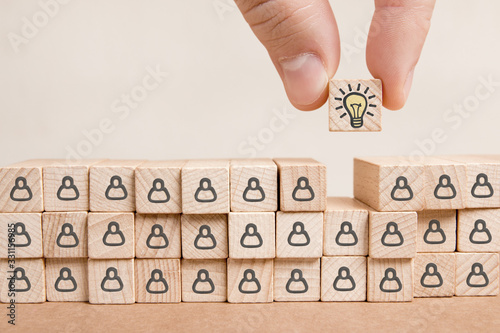 Wooden Blocks with Idea, Leadership and Teamwork Concept