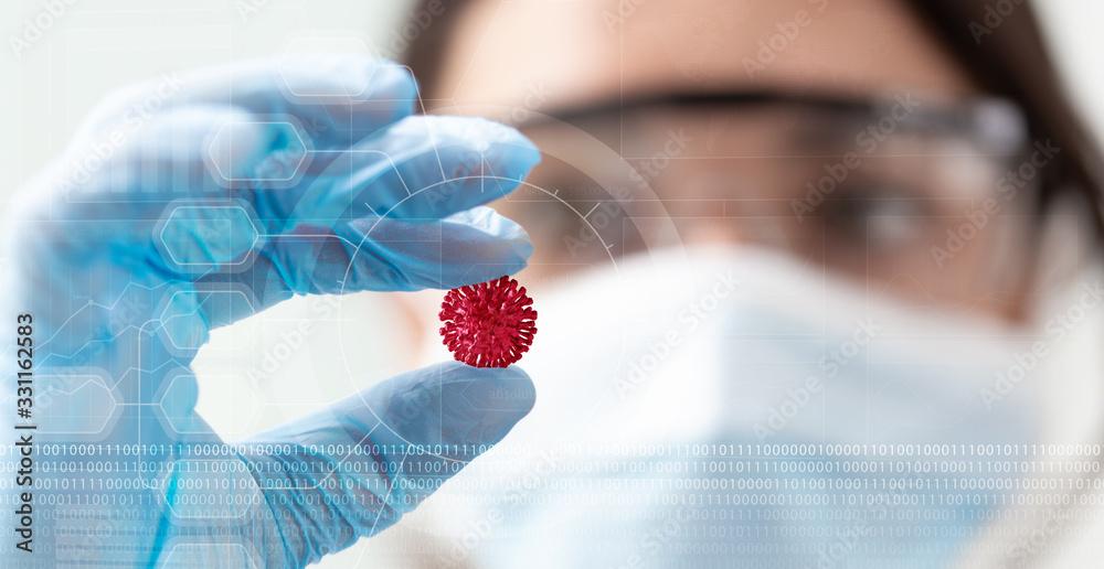 Fototapeta woman scientist holding a coronavirus in a research lab