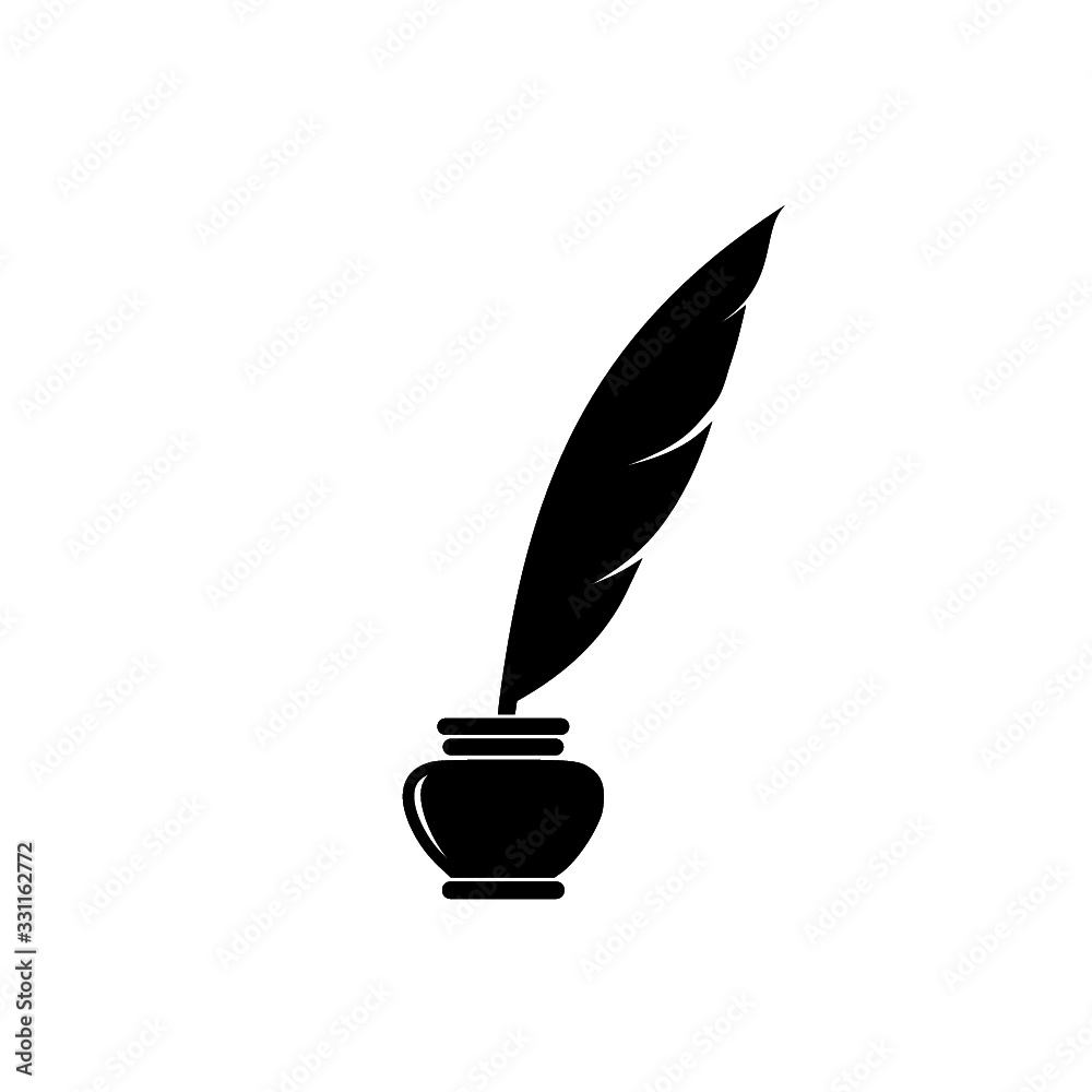 Fototapeta Quill ink icon on white background. Classic feather quill illustration