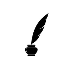 Quill Ink Icon On White Background. Classic Feather Quill Illustration