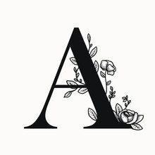 Vector Letter A Drop Caps Big Initial With Floral Decorations. Graphic Design Elements . First Letter Of The Paragraph Isolated Ornate Design. Serif Letter B With Floral Illustrations.