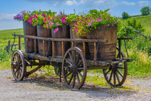 An Antique Farm Cart With Old ...