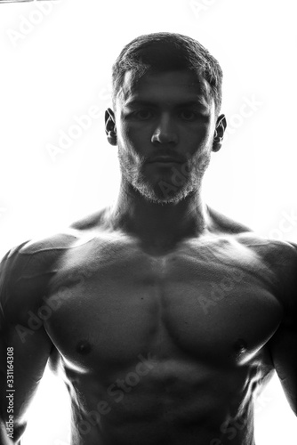 Fototapeta Silhouette of a bodybuilder obraz na płótnie