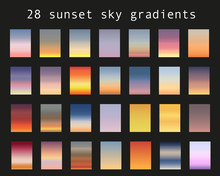 Sunset Gradient Bundle. Sky Backgrounds For Nature Landscapes. Vector Poster Or Minimal Card Templates Set. Great For Web Design Or As Phone Wallpapers. Illustration.