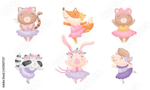 Obraz Cute Cartoon Animals in Ballet Skirt Dancing Vector Set - fototapety do salonu