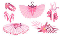 Pink Accessories For Ballet With Ballet Skirt And Ballet Shoes Vector Set