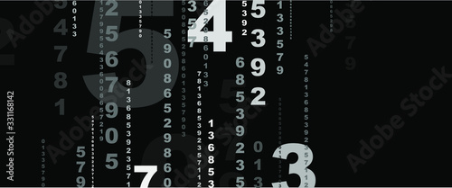 background with numbers in rhythmic dimensions. Canvas Print