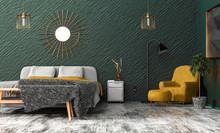 Stylish Bedroom In Green And Grey Tones And Yellow, Copper, Gold Accents - Armchair And Blanket On The Bed