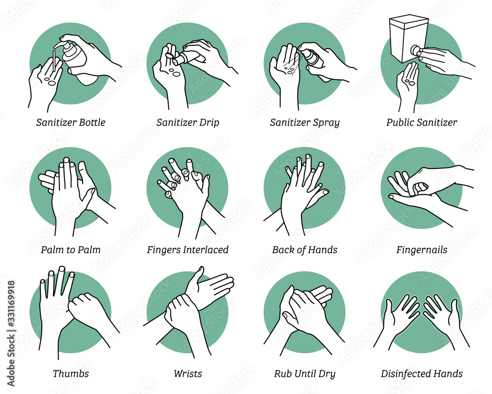 Fototapeta How to use hand sanitizer step by step instructions and guidelines. Vector illustrations artwork of hands sanitizing to kill and disinfect virus, bacteria, and germs. Disinfect correct and proper way.